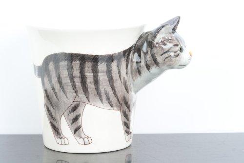 Unbekannt Grau und Schwarz gestromt Katze 3D handbemalt Hund Tasse