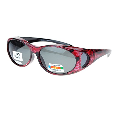 Womens Glare Blocking Polarized Lens 60mm Fit Over Oval Sunglasses Red