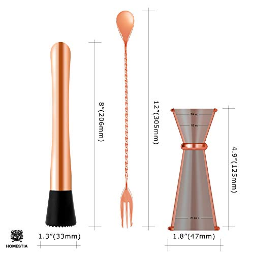 Homestia Copper Cocktail Muddler and Mixing Spoon with Japanese Jigger Mojito Muddler Bar Tool Set