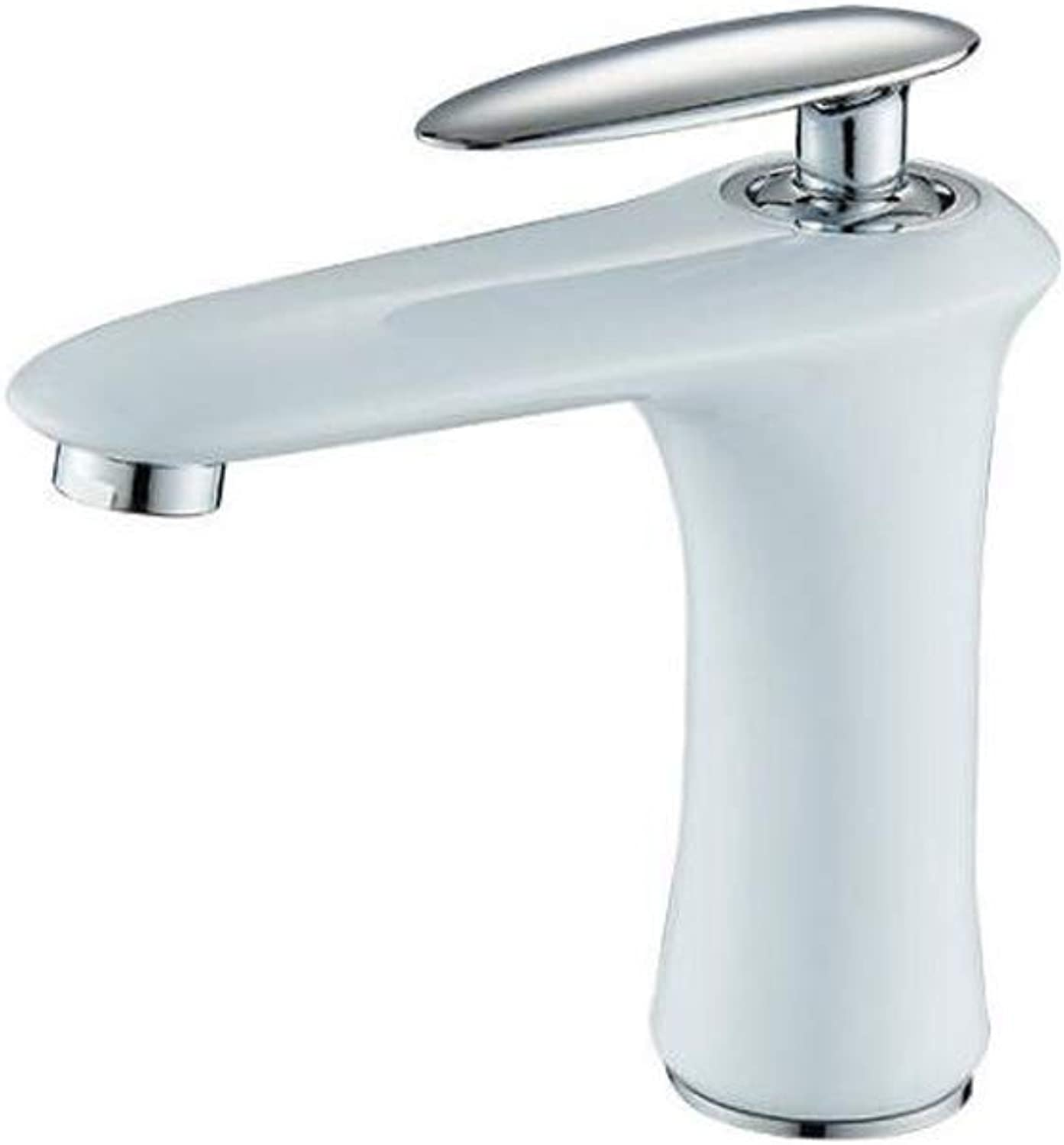 Tian Mi Modern BathroomTaps Mixer White Plating Chrome Finish Hot And Cold Water Brass Basin Faucet,WhiteFaucet,Short