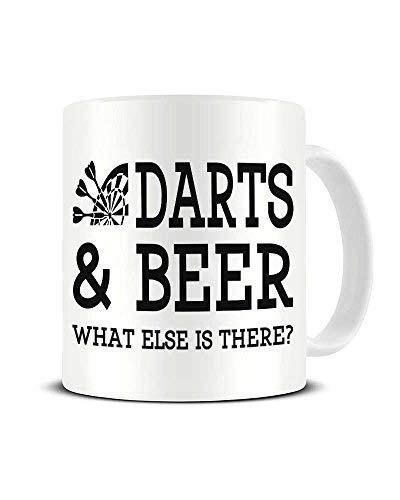 N\A Dardos y Cerveza, qué más Hay - Cerveza y Humor Deportivo - Taza de café de cerámica - Taza de té - Gran Idea de Regalo