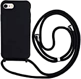 Hykjt Funda con Cuerda Compatible con iPhone 6/7/8 Plus(5.5'),Ajustable Collar Correa de Cuello Cordón Carcasa Caja Silicona Líquida TPU Bumper Caso-Negro