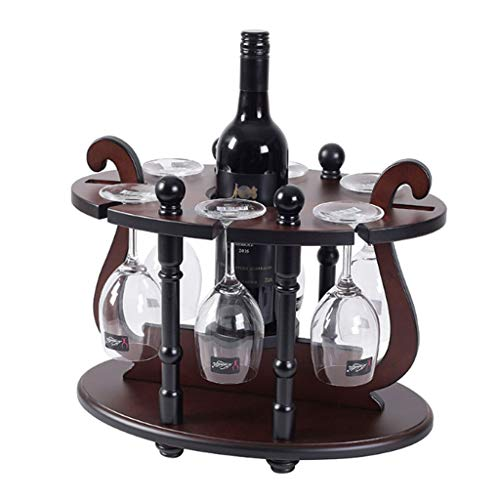 kiter Weinregal Freistehende Metallweinregal mit Glashalter, Holz Tabletop Weinregal, Weinglashalter Ständer, perfekt for Home Decor/Bar/Wein Cel (Color : Brown)