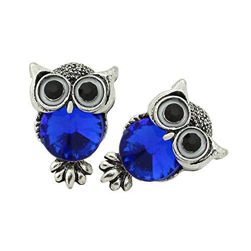 2 Stück Ohrstecker Ohrringe Ohrschmuck Eule Vintage Ohr Altsilbern Coole Farben - Rot Blau Schwarz Rainbow Tunnelstore, Farbe:blau + Etui blau mit Schleife