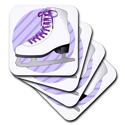 3dRose CST_77473_3 Eiskunstlauf-Geschenke, lila, Schlittschuh auf Streifen, Keramikfliesen-Untersetzer, 4er-Set
