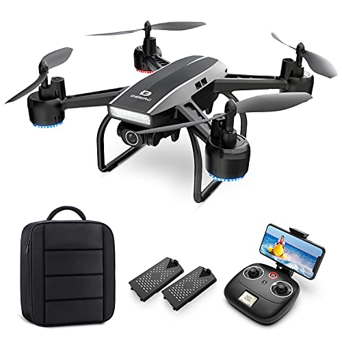 DEERC Drone with Camera for Adults 2K Ultra HD FPV Live Video 120° Wide Angle, Altitude Hold, Headless Mode, Gesture Selfie, Waypoints Functions RC...