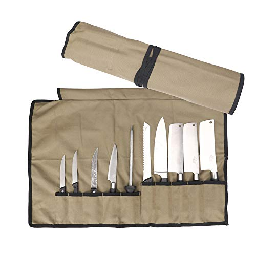 QEES Kochmesser-Rolle mit 10 Fächern, wasserdichter Messertasche aus Segeltuch, Multifunktions-Werkzeugtasche, Hellgrün,HYGJB501