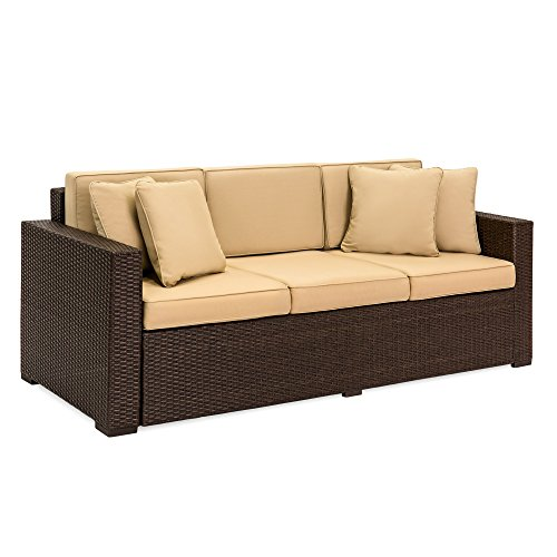 3-Seat Outdoor Wicker Patio Sofa with Removable Cushions