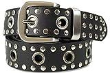 fashionchimp ® Nieten-Ösen-Gürtel, mit echtem Leder für Damen und Herren (Schwarz, 110/BW95 - Breite ca. 4cm)