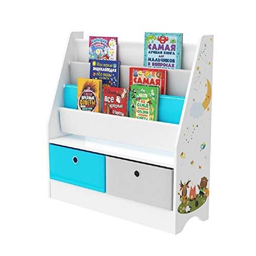 PALAKLOT Children's Toy Storage Unit - Toy Box Organiser With Bookshelf and Non-woven Fabric or Plastic Removable Bin Large Cabinet Rack (Bookshelf Toy Organiser 4 Tier)