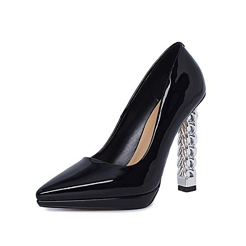 RHSMY Tacones altos para mujer, 11,5 cm, tacón grueso puntiagudo, zapatos únicos, zapatos altos sexy para mujer, plataforma impermeable de 1,5 cm (deslizable) (40 UE, negro)