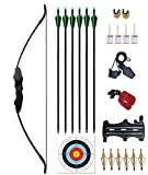 Vogbel Archery Takedown Recurve Bow and Arrow Set 30lb 40lb Right Hand Longbow Kit for Adult Youth Junior Beginner Outdoor Hunting Shooting Training Practice (40lb, 40lb)