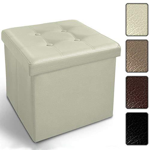 Floordirekt Faltbare Sitzwürfel Belmondo | Kunstlederbezug | Hocker | Sitzbox | 4 Farben | Auch als Sitzbank erhältlich (Sitzwürfel, Weiß)