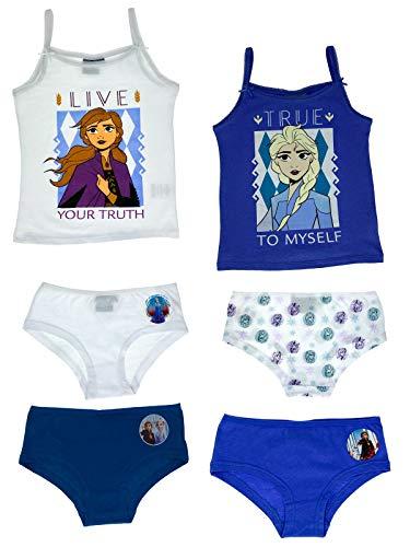 TragMich Unterwäsche-Set für Mädchen - Frozen - Unterhemden + Unterhosen als Vorteils Package, Größe:110/116, Motiv:Eiskönigin