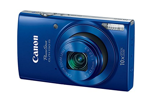 Canon PowerShot ELPH 190 is Digital Camera Blue with 10x Optical Zoom and Builtin WiFi with 16GB SDHC  Replacement Battery  Protective Camera case Along with Deluxe Cleaning Bundle