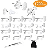 600Pcs 3 Size Stainless Steel Earring Posts Hypoallergenic Flat Pad Earring Studs with 300Pcs Butterfly...