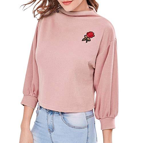 Damen Pullover Langarm Shirts Mode Tasche Patchwork Sweater Riemchen Rosenmuster Hoodie Sweatshirt Bluse Tops Tunci Rosa L