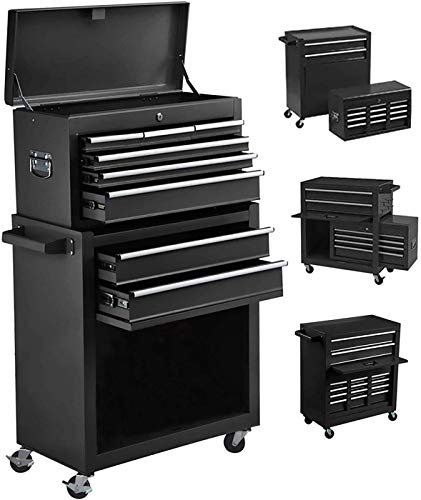 8-Drawer Tool Chest Tool Box,High Capacity Rolling Tool Chest Tool Storage Cabinet with 4 Wheels, 2 in 1 Large Toolbox Tool Organizer with Lockable Drawer for Garage Warehouse Workshop (Big Black)