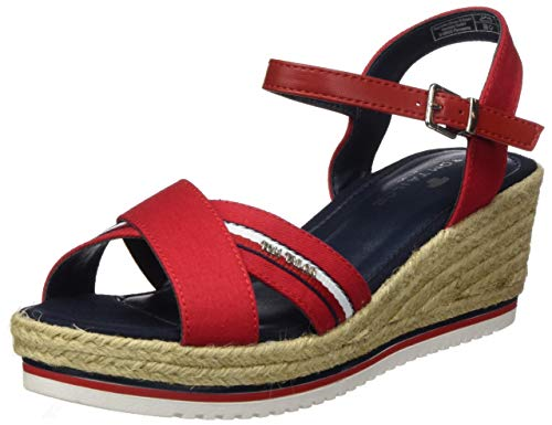 TOM TAILOR Damen 8091904 Riemchensandalen, Rot (Red 00004), 37 EU