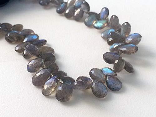 World Wide Gems Perlas de piedras preciosas 1 hebra natural labrarita facetada pera, collar de labrarita azul fuego, 5 x 8 mm - 8 x 12 mm, 20 cm código-HIGH-18053