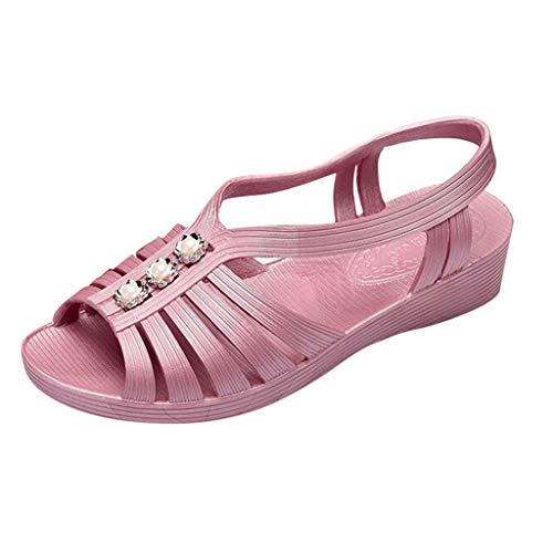 YWLINK Sandalias Planas para Mujer Talla Grande Antideslizante Comodo Zapatillas De Playa De Verano Ponerse Zapatos De Mamá Gris, Blanco, Caqui, PúRpura