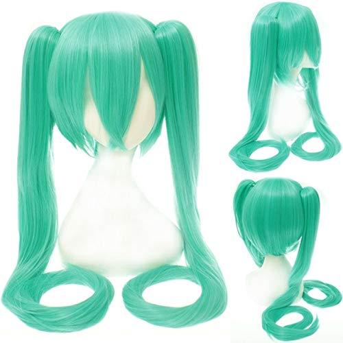 28 colores Vocaloid Hatsune Miku Cosplay peluca clip de pelo sintético resistente al calor largo cola de caballo pelucas + gorro de pelucacong verde 19