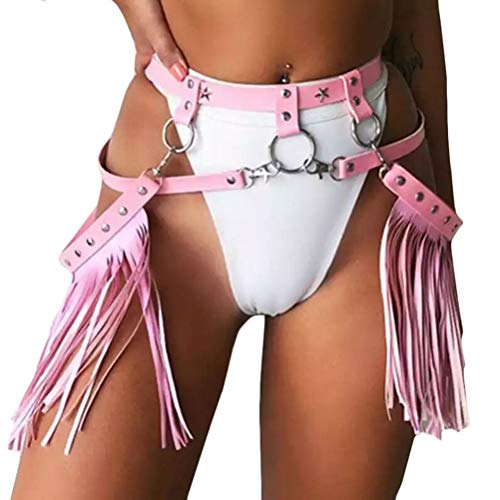 Women Rave Costume Tassel Body Harness Waist Belt Bondage Fringe Skirt for Concert Music Festival Dance Party, Pink, One Size