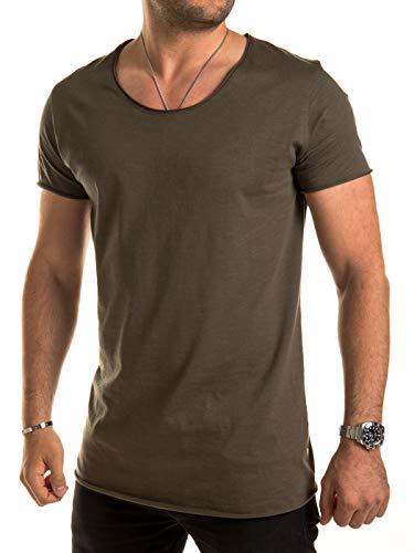 Yazubi Oversize Tshirts Herren Basic Hydrox Rundhals-Ausschnitt Oliv Kurzarm Khaki Maenner T Shirt Rundhal Slim Fit, Grün (Forest Night 190414), XXL
