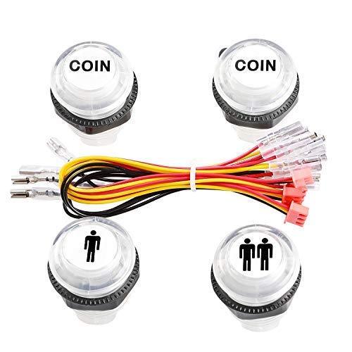 Reyann 5V LED Botón Iluminado Botones de Inicio del Jugador 1P / 2P / Botones de Moneda 2x para MAME / JAMMA / Juegos de Lucha / Videojuegos de Arcade