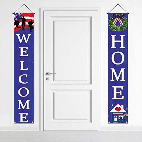 American Flag Patriotic Soldier Welcome Home Porch Sign Banners,Patriotic Theme Deployment Returning Back Military Army Homecoming Party Decoration