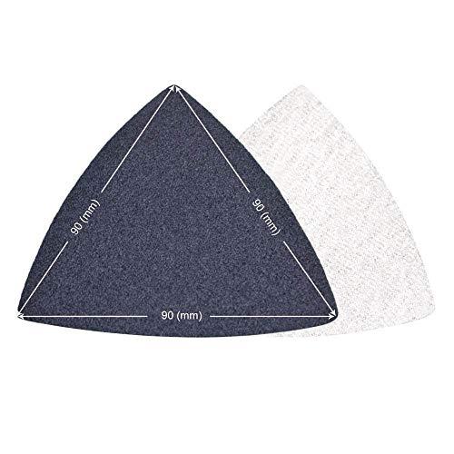 YJRIC Sandpapier 10 Stück Oszillierende Multi-Tools Haken & amp;Schleifenschleifpapier Sägeblatt Dreieckschleifer Schleifpapier Siliziumkarbid-Schleifblatt für, 120