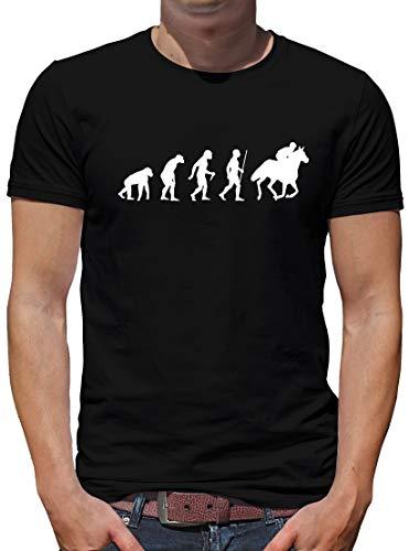 TShirt-People Evolution Pferd T-Shirt Herren Reiter Sprüche Fun L Schwarz