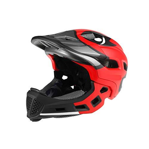 Casco Bicicleta Yuan Ou Adulto Niño Kid Mountain Road MTB Bike Casco Desmontable Pro Protection Niños Full Face Bicicleta Ciclismo Casco Rojo