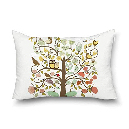Jianyao Retro Abstract Tree with Flowers Birds and Ladybug and Bees Decorative Pillow Case Cover Queen Size 20x30 Inch with Zipper, Rectangle Pillowcase Protector Home Decor