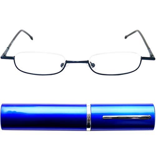 Leichte Metall Mini Halbbrille Lesebrille, Edelstahl Rahmen (Blau), mit GRATIS Slim-Fit Alu Brillenetui, Lesehilfe Damen und Herren +2.0 Dioptrien