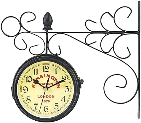 Wrought Iron Now on sale Wall Clock Year-end annual account Movement Met Double-Sided Silent