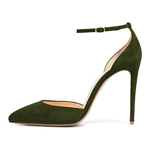 Lutalica Frauen Sexy Knöchelriemen Schnalle Spitz Formale Kleid Stiletto High Heels Wildleder Olivgrün Größe 38 EU