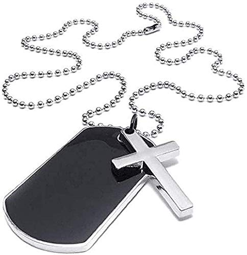 ZJJLWL Co.,ltd Collar Collar joyería Hombres señoras Collar Cruz Militar marcadores Estilo Militar Etiqueta de Perro Colgante Regalo