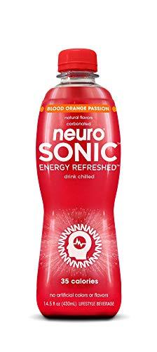 neuroSONIC | Blood Orange Passion | Functional Beverage for Focused Energy, Lightly Carbonated, Vegan & Low Sugar; Pack of 12 (14.5oz each)