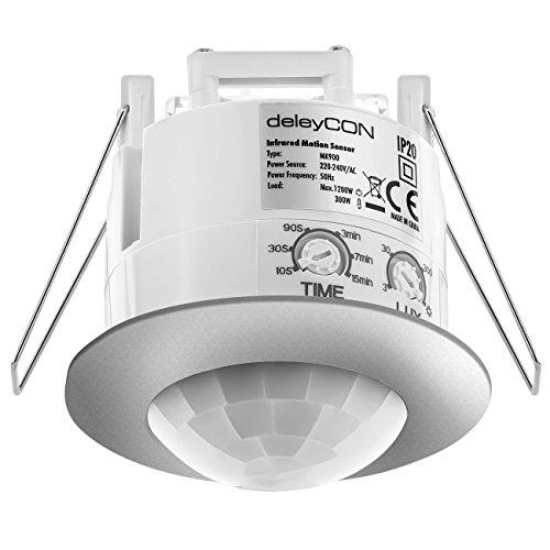 deleyCON Infrarouge Détecteur de Mouvement de Plafond - Intérieur Portée 6m à 360° Luminosité Ambiante Réglable IP20 Montage Encastré Chrome