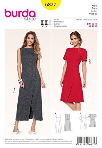 Burda 6877 Schnittmuster Kleid und Wickeleffekt und interessante Nahtführung (Damen, Gr. 36-46) Level 3 mittel