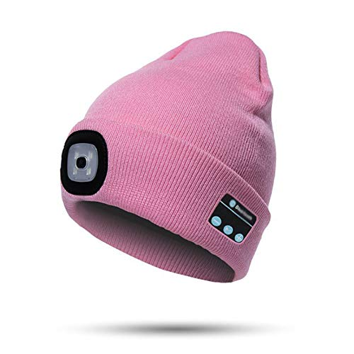LED Beanie Light with Bluetooth Hat, Built-in Stereo Speakers & Mic, Bright Hands-Free Hat Light USB Rechargeable LED Flashlight Headlamp Winter Knit Cap for Men, Women (Pink)