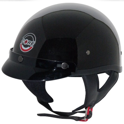 Core Cruiser Shorty Half Helmet (Gloss Black, Large)