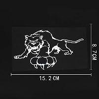 アウトドア ステッカー 15.2CMX8.7CM積極的なタイガー動物プレデタービニール車ステッカーブラック/シルバー アウトドア ステッカー (Color Name : Silver)
