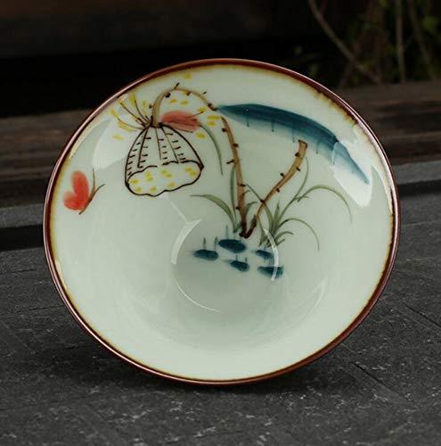 Qnmbdgm Chinese stijl, handbeschilderd, 50 ml, kleine theekopje, Kung Fu Jingdezhen, ruwe potjes, handbeschilderd, kopje, Lotus