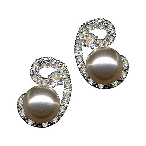 Pendientes de plata de ley 925, estilo modernista, Art Nouveau, perlas beige, cristales de circonita, brillantes, amor, fe, esperanza, emoción, símbolo, diseño, objeto, color blanco, extravagante,