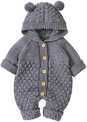 DovFanny Newborn Baby Winter Outfit Knitted Sweater Romper Infant Boy Girl Long Sleeve Hooded product image