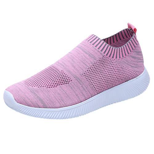 MRULIC Damen Laufschuhe Outdoor Mesh Lässige Sportschuhe Atmungsaktive Schuhe Turnschuhe Sneakers Leichte Gestrickte Schuhe Racer Fitnessschuhe (Rosa,EU-34/CN-35)