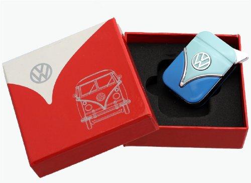 Original Volkswagen Feuerzeug im Frontschild Design - in verschiedenen Farben - Geschenkset (VW-Bulli-hellblau-blau)