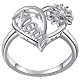 Jude Jewelers Platinum Plated Sunflower Style Mother's Day Mom Birthday Ring (Silver, 7)